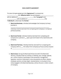 Non Compete Agreement Template Free Sample Docsketch