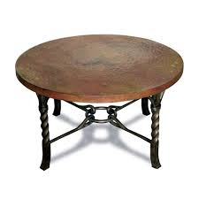 antique and vintage round metal coffee table with brown top and black metal base ideas