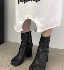 Casual <b>Ladies Split Toe Leather</b> Mid-Calf Boots Block High Heel ...
