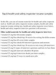 Healthcare Professional Resume Sample Top 8 Health And Safety Inspector Resume Samples