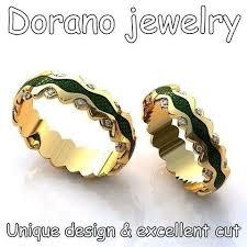 arcadia wedding band. yellow gold band with green enamel and diamonds. www.doranojewelry.com # arcadia wedding i