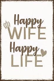 Happy Wife Spruch Wandbild Reinders