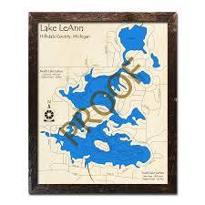 Lake Leann Mi 3d Wood Topo Map