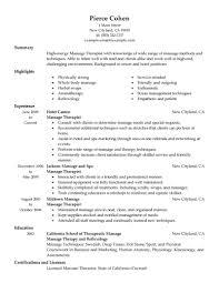Cover Letter Sample Resume For Massage Therapist Sample Resume
