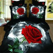 3d red rose bedding sets queen size fl doona black quilt duvet cover bed linen bedclothes cotton home textile boys bedding camo bedding from liuliu811