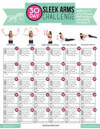 30 Day Leg Challenge Chart 30 Day Sleek Arms Challenge Blogilates
