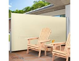 retractable awning side shade 2x3m home patio privacy panel screen beige mega saver