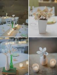 Paper Flower Centerpieces At Wedding Book Page Paper Flower Centerpieces Green Wedding Shoes