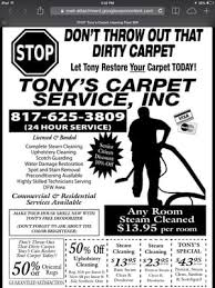 carpet cleaning flyer tony s carpet cleaning service carpet cleaning 4450 ashberry