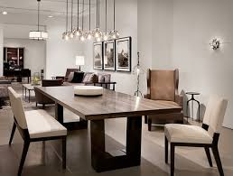 contemporary dining room love the modern wood dining table the chandelier lighting holly hunt