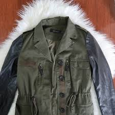 zara khaki jacket with faux leather sleeves coat women s fashion clothes on carou