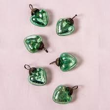 6 pack 1 5 vintage green cora mercury glass heart ornaments tree decoration