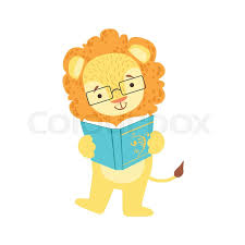 lion smiling bookworm zoo character wearing gles and reading a book cartoon ilration part of s in library collection flat vector drawing with