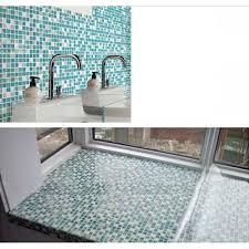 cream stone le crystal tile backsplash blue glass mosaic wall ed shower floor tile