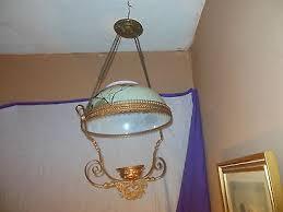 antique hand painted milk glass ornate brass hanging kerosene lamp chandelier