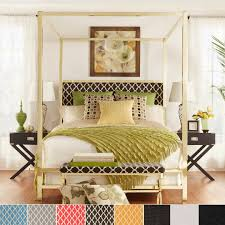 ... designs bedroom Large-size Inspire Q Solivita King Sized Canopy Gold  Metal Poster Bed Tufted By ...