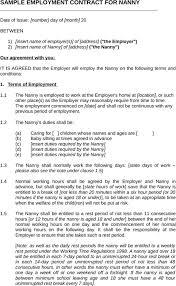 Sample Nanny Contract Template | Trattorialeondoro