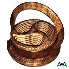 details about dry fruit basket wooden handmade collapsible antique with folding trivet