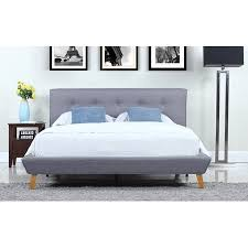 Mid-Century Grey Linen Low Profile Platform Bed Frame with Tufted Headboard Design (Cal King)