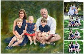 family portrait painting i painted this darling young family referring to their photos in a new york urban park and the forest they love in colorado
