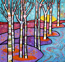 Colorful Aspen Tree Painting