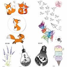 Diy милые мультяшные лисы временные татуировки детские наклейки на руку