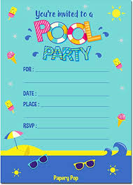 Birthday Invitation Party Papery Pop Pool Party Invitations With Envelopes 15 Count Kids Birthday Invitations For Boys Or Girls