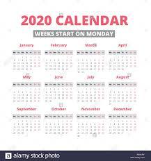 Simple 2020 Year Calendar Week Starts On Monday Stock Vector Art