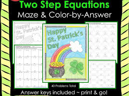 solving equations st patrick s day math two step equations maze color by number bundle by gottaluvitcreations teaching resources tes