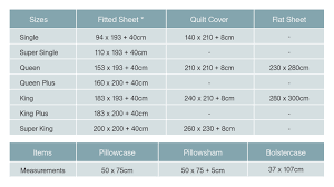 bed linen sizes measurements