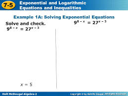example 1a solving exponential equations