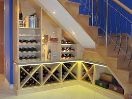 Decorations:Adorable Wine Rack Under Stairs With Open Shelves And White  Wooden Railing Modern Wine