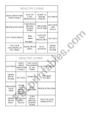 Healthy Habits Bingo Chart Esl Worksheet By Damy