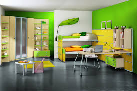 modern kids furniture. Amazing Modern Kids Rooms Ideas With Green Wall Cupboard Bedroom Wooden Table Study White Chair Furniture Yellow And Pillows Innovative