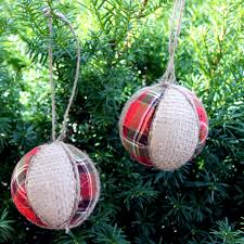 Decorated Styrofoam Balls Plaid and Burlap Ornaments The Country Chic Cottage 49