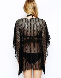 Asos Lace Beach Kaftan In Black Lyst