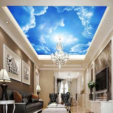 modern 3d wallpaper blue sky white clouds mural for living room bedroom ceiling