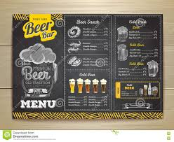Vintage Chalk Drawing Beer Menu Design. Stock Vector - Illustration ...