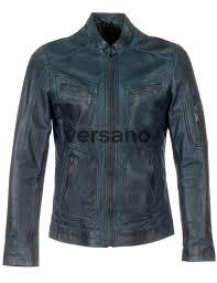 leather men s coats blue versano tr36 front