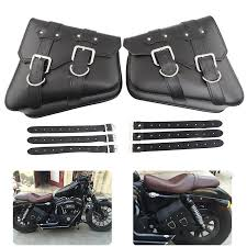 pu leather motorcycle saddle bags saddlebag luggage bag for sportster 883 dyna 33 99