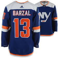 New Autographed Barzal Islanders Blue York Adidas Jersey Mathew Alternate Authentic