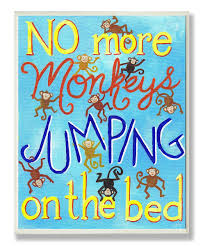 blue no more monkeys jumping wall art kids monkey throughout on the