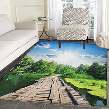 nature print area rug old wooden vintage wooden deck on silent river in sunny day rays fresh forest photo indoor outdoor area rug 4 x5 blue green