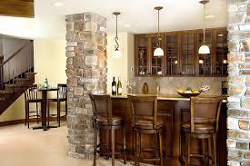 ... Stunning Bar Design For Basement Decoration : Awesome Basement Bar  Design Ideas With Stone Kitchen Pillar ...