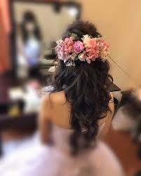 平原さんのヘアスタイル 前撮りヘアたくさんお花 Tredina