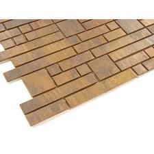 antique copper rockfall mosaic random bricks metal tile