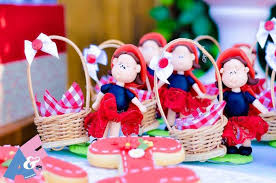 little red riding hood basket favors from a little red riding hood birthday party via