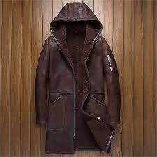 hooded mens shearling coat mens fur coat long style business casual sheepskin leather jacket