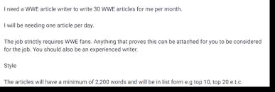 get paid to write wrestling articles wrestling article