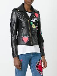 house of holland heart patches biker jacket black women clothing house of holland tee